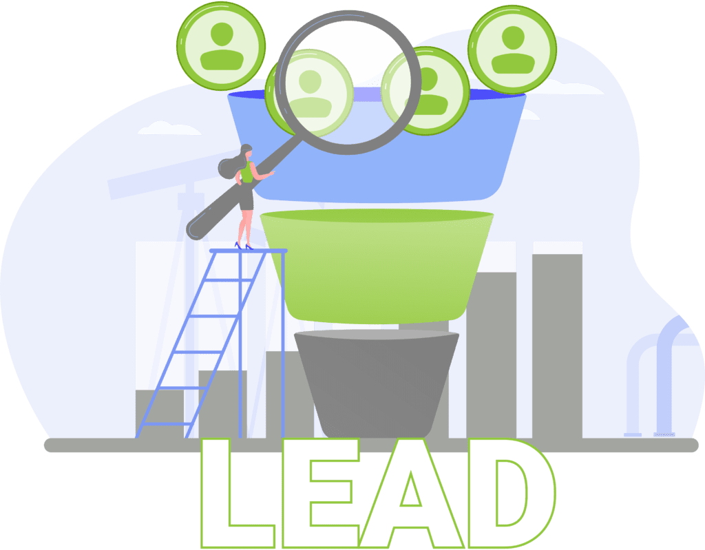 Lead marketing funnel for oil and gas